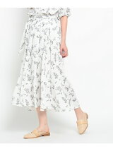 サッシュ付花柄ミディスカート
