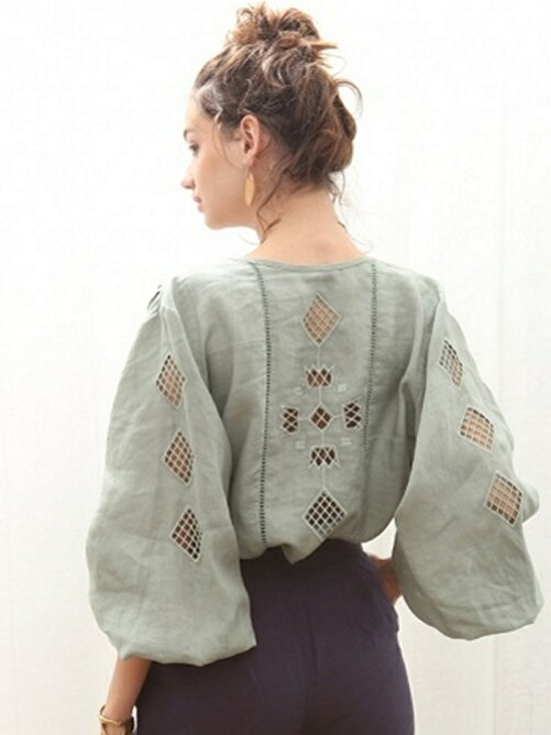 LINEN CUTWORK BLOUSE