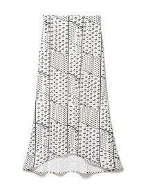 【SALE/70%OFF】clear impression musee 《musee》幾何学プリントナロースカート クリアインプレッション スカート ロングスカート ホワイト ブラック