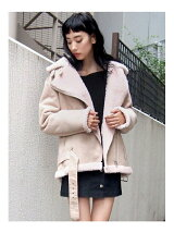 VOLUME FAKE MOUTON COAT