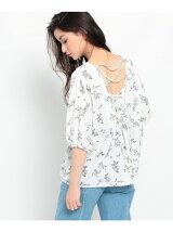 花柄バックレースアップシャツ
