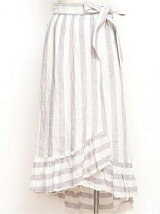 LINE STRIPE WRAP SKIRT