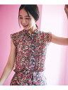 組曲 【Rythme KUMIKYOKU】フラワープリント ブラウス クミキョク シャツ/ブラウス 長袖シャツ ピンク ブルー【送料無…