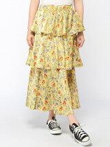 【BROWNY】(L)フラワーティアードスカート