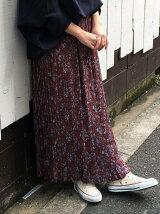 ビンテージフラワープリーツマキシスカート