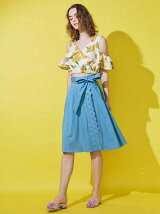 [sw]スカラップ刺繍ダンガリースカート