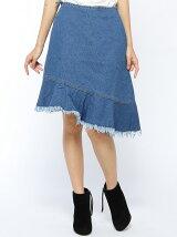 デニム巻きスカート