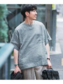 【SALE/55%OFF】ITEMS リネンTシャツ アーバンリサーチアイテムズ カットソー Tシャツ ブルー ホワイト ブラック