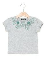花モチーフ付き半袖Tシャツ