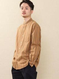 coen オルタネイトストライプバンドカラーシャツ コーエン シャツ/ブラウス 長袖シャツ ブラウン ネイビー