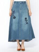 いちりん花刺繍ストレッチデニムスカート