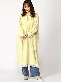 Samansa Mos2 race dress Samantha MOS MOS dress long sleeves dress yellow white gray
