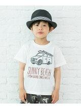 車&サーフボードプリントTシャツ