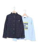 ウィンドペンチェックシャツ+天竺ロゴプリント長袖Tシャツセット