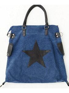 VICCI VICCI星柄ワッペン貼付けトートバッグ シルバーバレット バッグ トートバッグ ブルー ホワイト