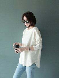 【SALE/25%OFF】Coo+i ラウンドスリット入りロングTシャツ長袖重ね着レイヤード スレンダー カットソー Tシャツ ホワイト カーキ グレー ブラック グリーン ブラウン パープル