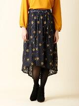 フラワーレース&刺繍ロングスカート