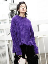 SLIT SLEEVE MALL KNIT TOP