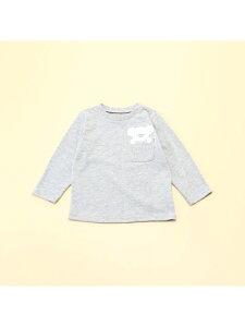 COMME CA ISM 動物アップリケ付き 長袖Tシャツ(80・90サイズ) コムサイズム マタニティー/ベビー ベビー用品 グレー ピンク ベージュ