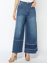 デニム裾段フリンジワイドパンツ