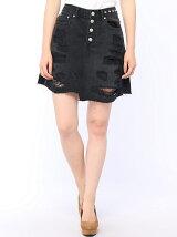 【BROWNY STANDARD】(L)ダメージデニムミニスカート