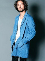 STRETCH KNIT DENIM CHESTER FIELD COAT