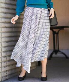 【SALE/40%OFF】a.v.v チェックイレヘムスカート[WEB限定サイズ] アー・ヴェ・ヴェ スカート スカートその他 グレー グリーン