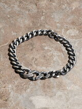 IDEALITE:OXIDIZED SILVER CHAIN BRACLET WIDE:イデアライト シルバーチェーンブレスレット ワイド