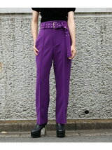 EYELET BELT SLIM LEG TROUSERS