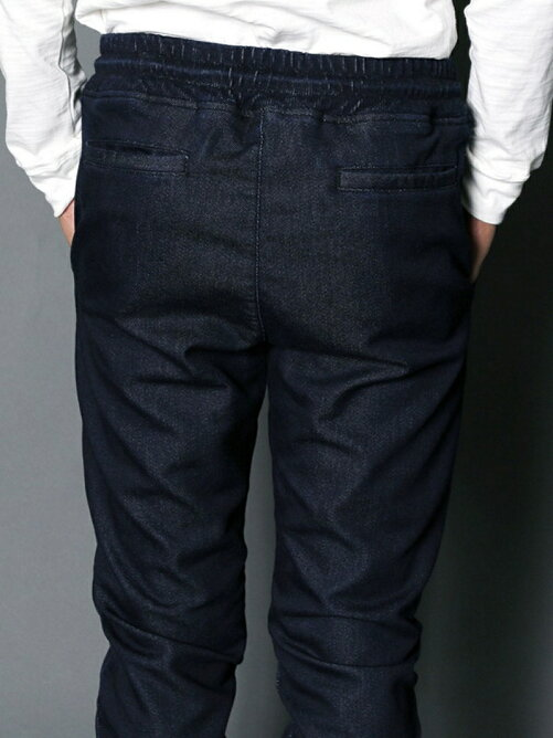 KNIT DENIM SHIRRING JOG PANTS