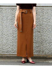 EYELET BELT MAXI TIGHT SKIRT