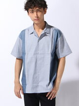 縦切り替えオープンカラー半袖シャツ