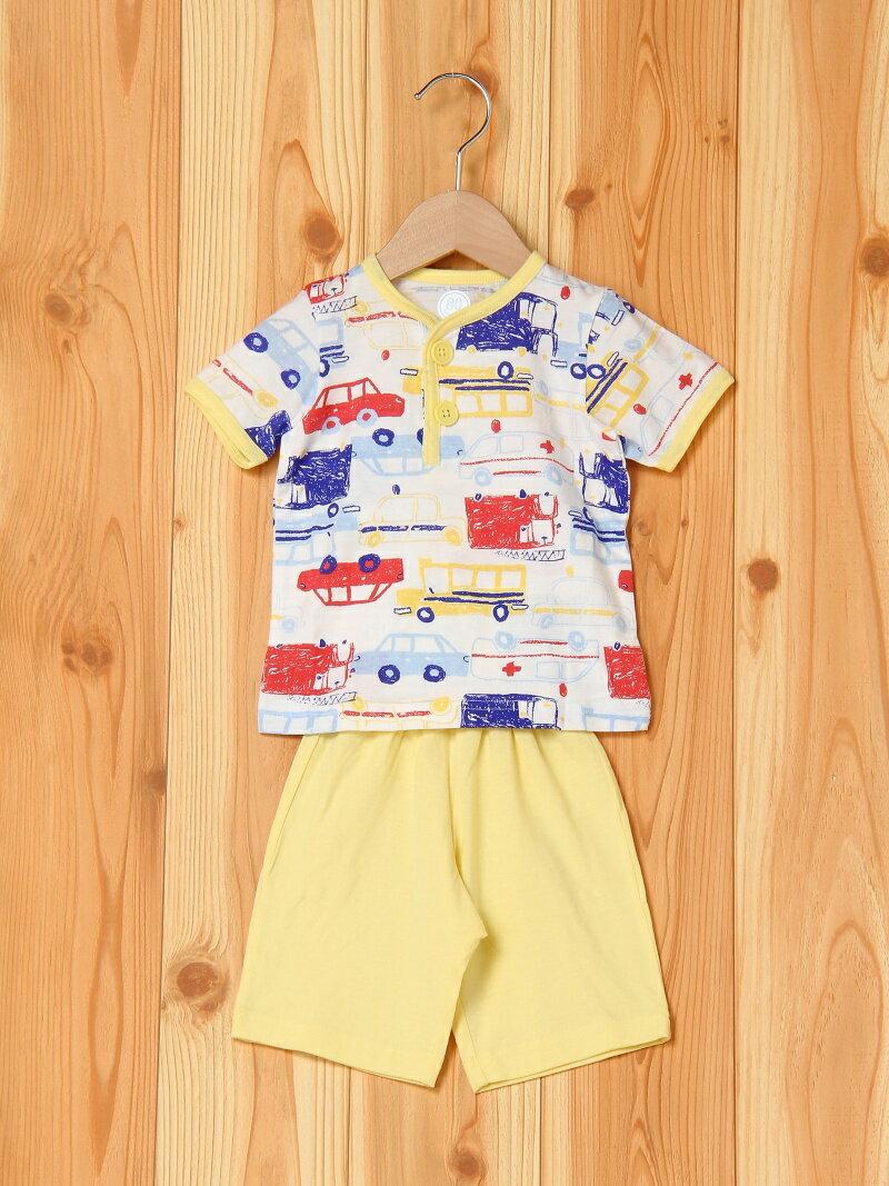 【SALE/20%OFF】Combi mini のびのび腹巻付き半袖パジャマ(はたらく乗り物) コンビミニ カットソー【RBA_S】【RBA_E】
