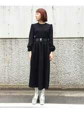 PUFFY SLEEVE MAXI SKATER DRESS