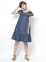 OFF SHOL DENIM DRESS