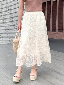 【SALE/50%OFF】MISCH MASCH レースロングスカート ミッシュ マッシュ スカート フレアスカート ホワイト ブラウン ブルー