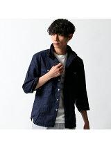 リネン平織り スタンドシャツ七分袖