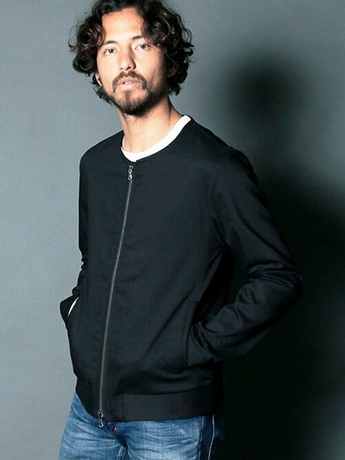 STRETCH TWILL ZIP NO COLLAR NARROW BLOUSON