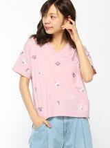C・総柄刺繍Vネック/Tシャツ