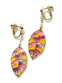 rehacer rehacer:Stained glass Leaf Earrings レアセル アクセサリー