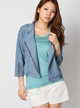 Chambray 3/4Sleeve Moto Jacket