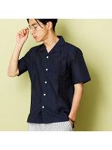 綿麻オープンカラー半袖シャツ