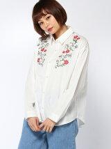 花刺繍入りシャツ