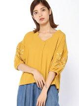 花刺繍スキッパーシャツ