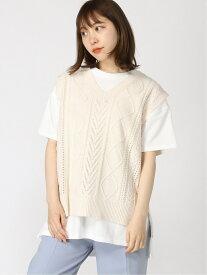 【SALE/69%OFF】INGNI 7G透かしニットベスト+TシャツSET イング カットソー Tシャツ ホワイト ブルー ベージュ カーキ