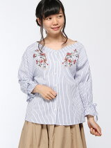 袖口リボン刺繍スキッパーシャツ