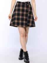 チェックリバーシブルラップスカート