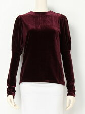 VELOUR PUFFY SLEEVE TOP