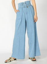 Corset denim wide pants