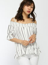 S・キャンディー袖オフショル5分袖/TOPS